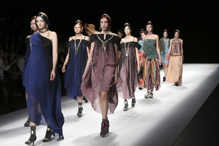 by Keiichiro Yuri during the 2017 Spring/Summer Collection at the Tokyo Fashion Week in Tokyo,