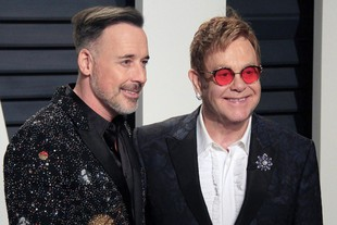 Vanity Fair Oscar Party - 89th Academy Awards  David Furnish (L) and Elton John (R