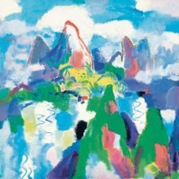 Chen Junde, Serie monti, foreste, nuvole e corsi d'acqua - Verde smeraldo incapsulato nella fievole  luce riflessa in mezzo alla foschia, 2009 Olio su tela © ANSA