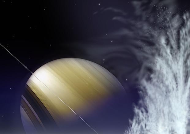 Scoperti 101 geyser sulla luna di Saturno Encelado, portano i superficie l'acqua dell'oceano nascosto sotto i ghiacci (fonte: NASA, Michael Carroll) © Ansa