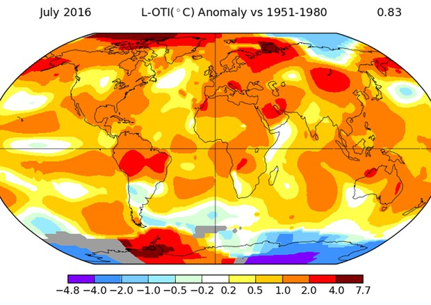 Luglio 2016 il più caldo a livello mondiale dal 1880 ad oggi