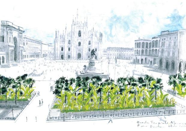 Palme e banani sotto il Duomo