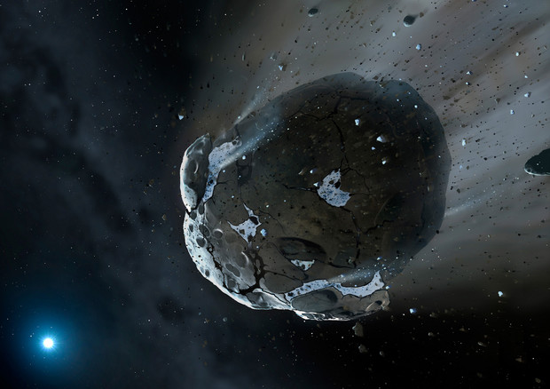 Il 4 aprile il passaggio dell'asteroide 2017 GM, a soli 16,000 chilometri, uno dei 10 più vicini alla Terra mai registrati (fonte: NASA, ESA, M.A. Garlick (space-art.co.uk), University of Warwick, and University of Cambridge) © Ansa