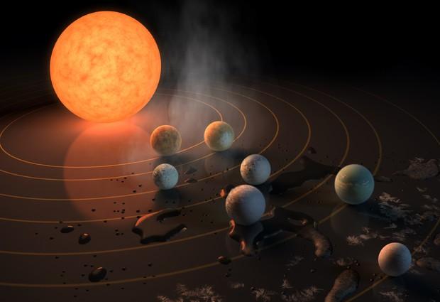 Rappresentazione artistica della stella Trappist-1 con il suo sistema planetario (fonte: NASA/JPL-Caltech) © Ansa