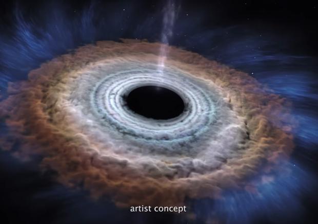 Rappresentazione artistica di un buco nero (fonte: NASA Goddard) © Ansa