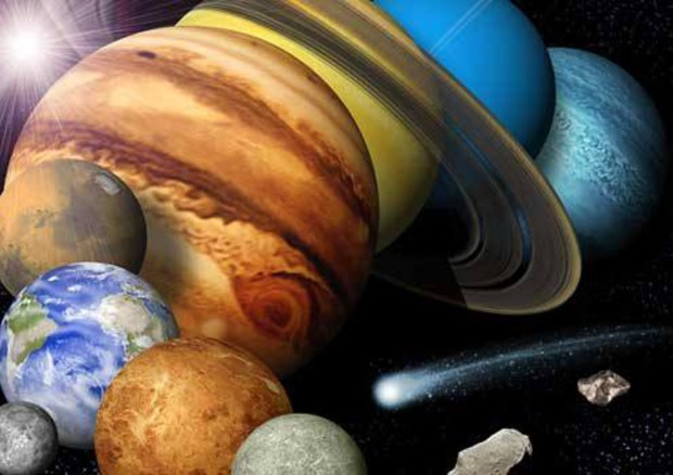 Ricostruzione del Sistema Solare e dell'asteroide Apophis (fonte: Nasa) © Ansa