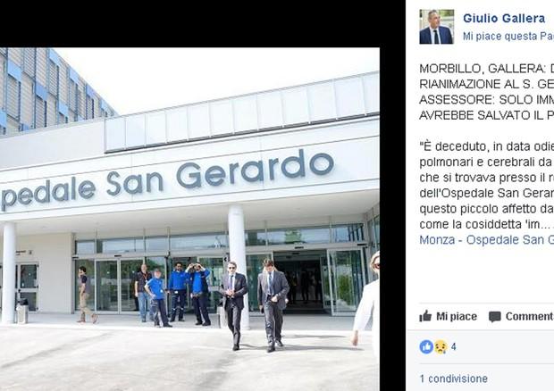 Il profilo Facebook di Giulio Gallera dove annuncia la morte di bimbo di 6 anni per complicanze da morbillo © ANSA