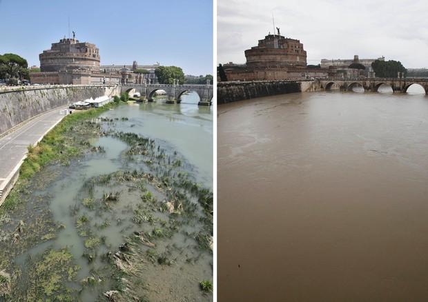 Una combo di immagini del fiume Tevere all'altezza del ponte di Castel Sant'Angelo: a destra il  livello dell'acqua normale, a sinistra quello notevolmente pi basso di questi giorni a causa della  siccit. Roma, 23 luglio 2017 © ANSA