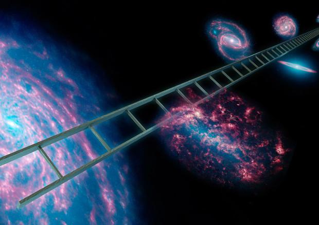 Rappresentazione artistica della scala delle distanze cosmiche per misurare l'espansione dell'universo (fonte: NASA/JPL-Caltech) © Ansa