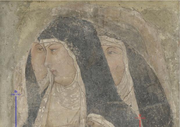 L'affresco del 'Gruppo di quattro Clarisse' di Ambrogio Lorenzetti (fonte: Enrico Cappellini) © Ansa