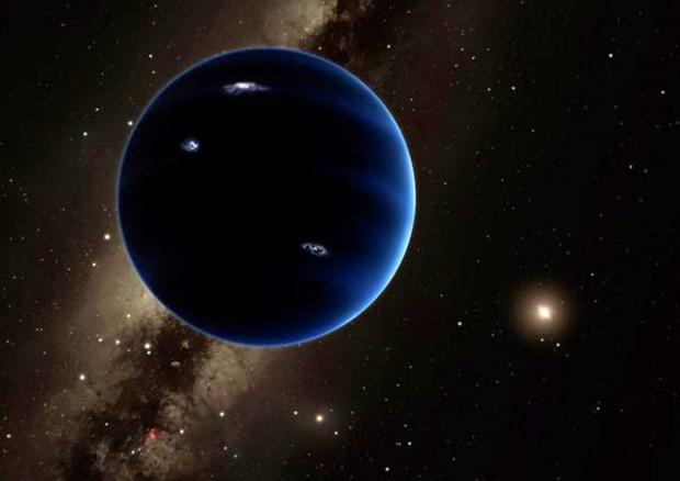 Rappresentazione artistica del misterioso Pianeta 9, in passato identificato con Nimuru, il pianeta inesistente che secondo una leggenda metropolitana minaccerebbe la Terra (fonte: Caltech) © Ansa