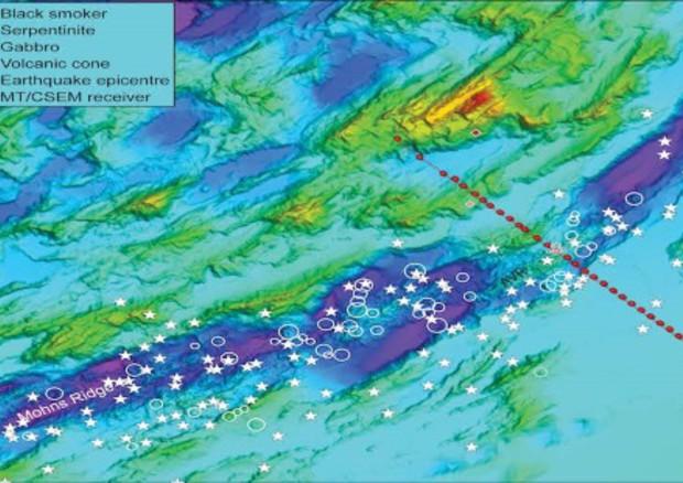 Una scansione della dorsale oceanica nel mare della Groenlandia (in viola). Punteggiata in rosso la traiettoria della nave che ha effettuato le osservazioni. (fonte: Johansen et al. Nature 2019) © Ansa