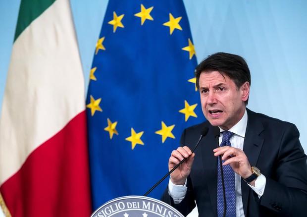Giuseppe Conte durante la conferenza stampa a Palazzo Chigi © ANSA