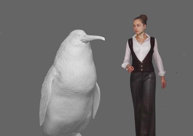 Ricostruzione in 3D del pinguino gigante vissuto 60 milioni di anni fa, a confronto con un essere umano (fonte: Canterbury Museum) © EPA