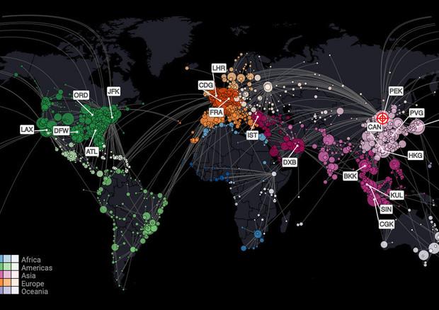 Probabili vie di espansione del coronavirus dall'aeroporto di Pechino a quelli di tutto il mondo. Le dimensioni dei cerchi indicano il rischio relativo in ciascun aeroporto (fonte: Dirk Nrockmann) © Ansa
