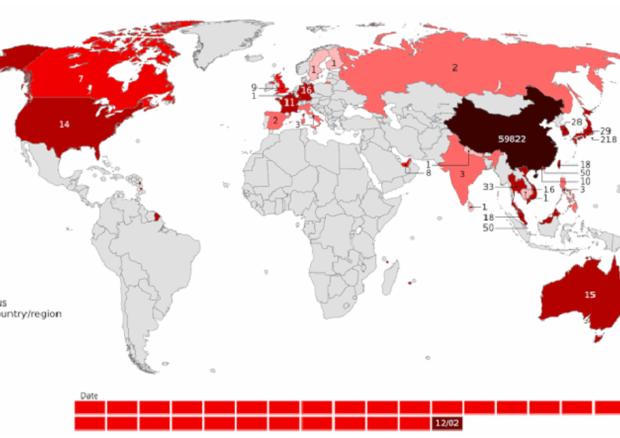 Mappa dei casi confermati dei casi di Covid-19 al 12 febbraio 2020 (fonte: Metropolitan, Wikipedia) © Ansa