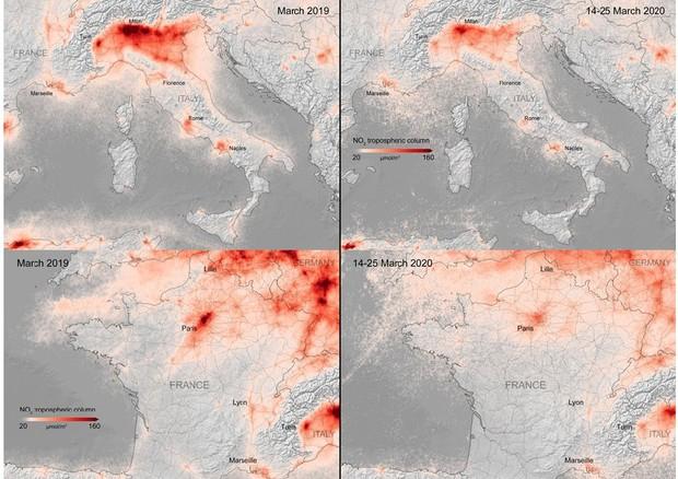 Coronavirus: sensibilmente ridotto l'inquinamento in Italia e Europa