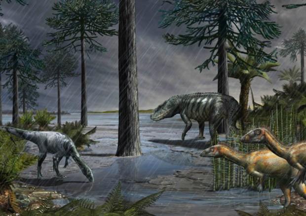 Ricostruzione della vita sulla Terra circa 233 milioni di anni fa dopo l'estinzione di massa appena individuata l'Episodio pluviale carnico