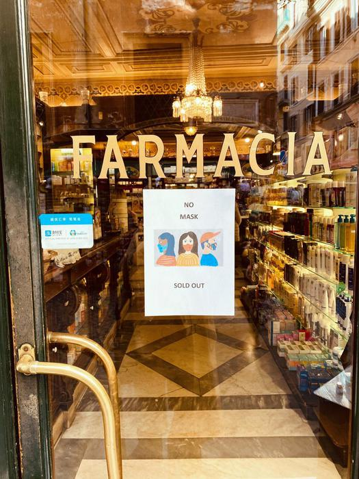 Mascherine sold out in farmacie Roma