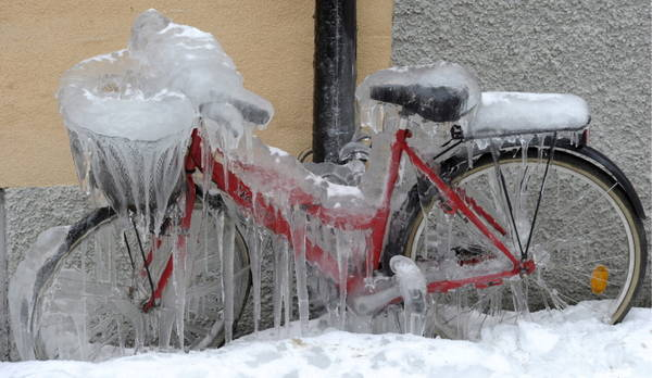 An ice-covered bike