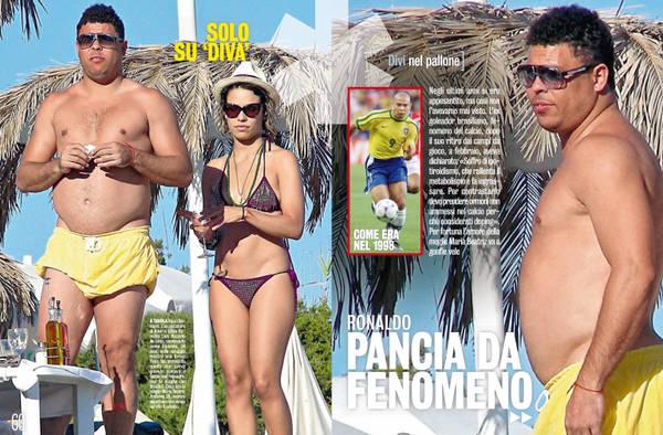 Ronaldo insieme alla moglie a Ibiza. L'ex fuoriclasse brasiliano ha definitivamente rinunciato a mantenersi in forma