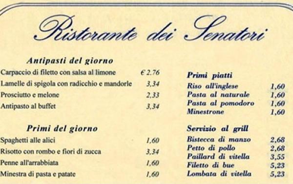 Il menu del ristorante del Senato