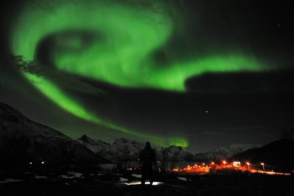 Aurora boreale vicino a Tromso (Norvegia)
