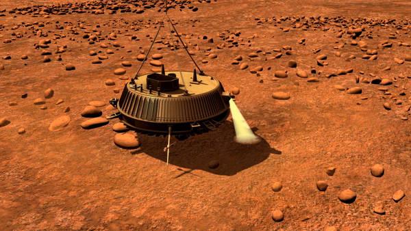 Ricostruzione artistica dell'arrivo della sonda Huygens su Titano (fonte: ESA)