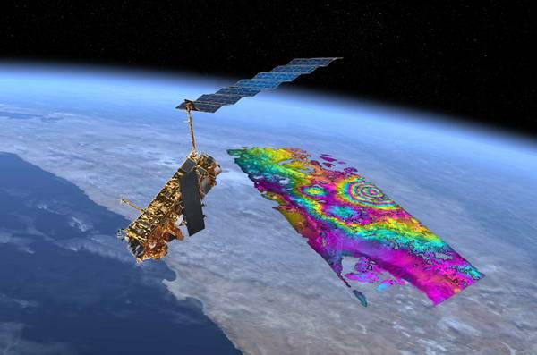 Il satellite Envisat che ha individuato il magma che si sta sollevando sotto la regione andina (fonte: Yuri Fialko, SIO/UCSD, ESA e NASA)