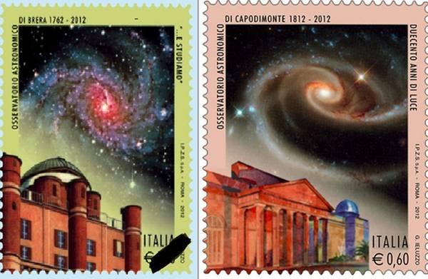 A destra il francobollo dedicato all'osservatorio di Brera, a sinistra quello per l'osservatorio di Napoli (fonte: INAF)