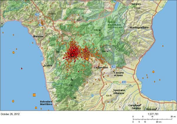 L'area colpita dal terremoto del Pollino (fonte; INGV)