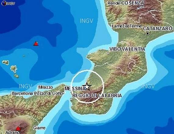 Localizzazione del terremoto nella piana di Gioia Tauro (fonte: INGV)