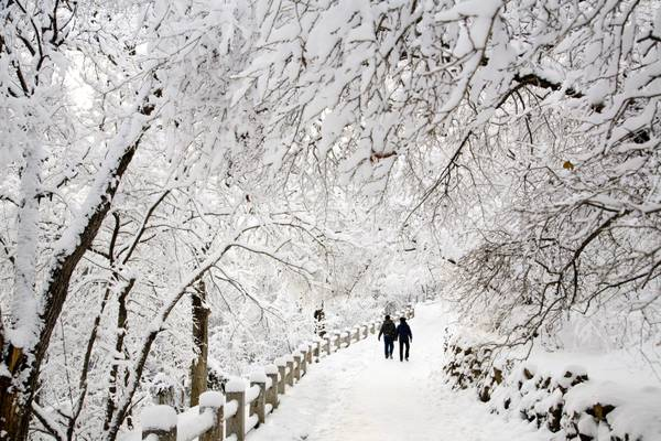 Un coppia passeggia in un parco innevato a Jilin, nel nord della Cina