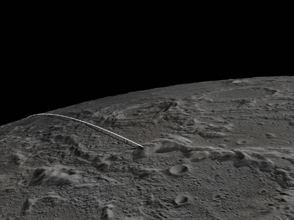 Ricostruzione della traiettoria e del luogo d'impatto delle sonde Grail della Nasa (fonte: NASA/JPL-Caltech/GSFC/ASU)