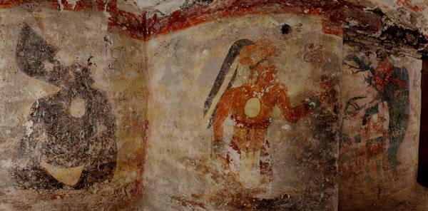 Uno dei dipinti del calendario Maya scoperti nella stanza di uno scriba (fonte: Tyrone Turner, National Geographic)