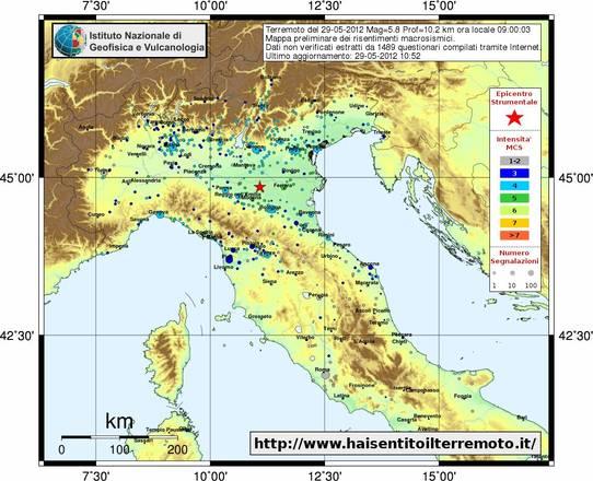 Mappa degli effetti del terremoto del 29 maggio, sulla base delle segnalazioni da parte della popolazione (fonte: INGV)
