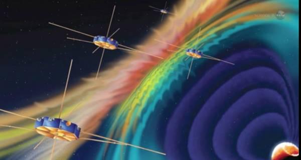 Rappresentazione artistica della missione Mms della Nasa (fonte: Science@NASA)