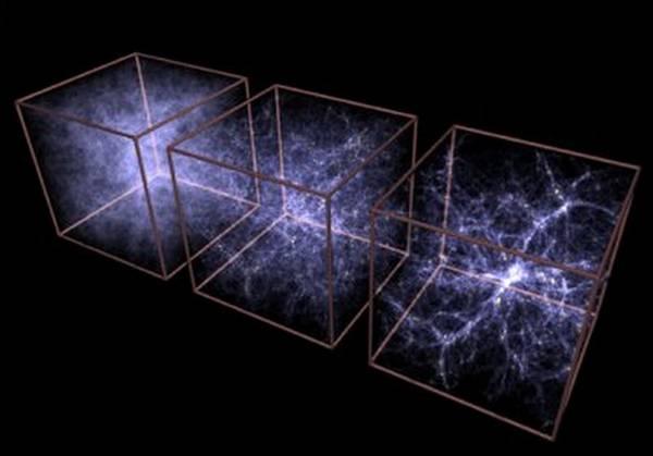 Rappresentazione grafica dell'espansione dell'universo sotto la spinta dell'energia oscura (fonte: MPE/V.Springel, NASA)