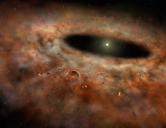 Rappresentazione asrtistica della nube di gas e polveri che circondava la stella TYC 8241 2652  come appariva quando emetteva una grande quantità di radiazione infrarossa (fonte: Gemini Observatory/AURA  - Lynette Cook.