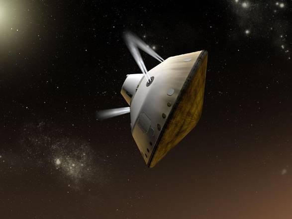 rappresentazione artistica della missione Msl durante l'avvicinamento a Marte (fonte: NASA/JPL-Caltech)