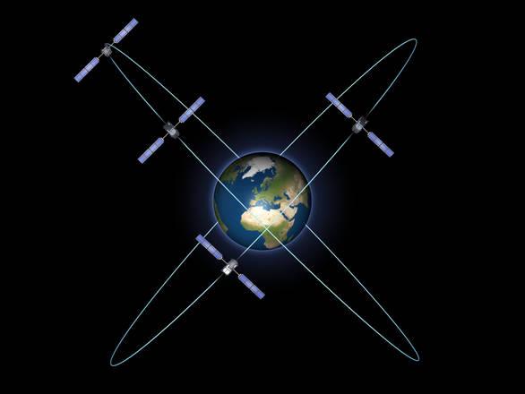 Rappresentazione grafica dei quattro satelliti per la Validazione in orbita della costellazione Galileo (fonte: ESA - P. Carril)