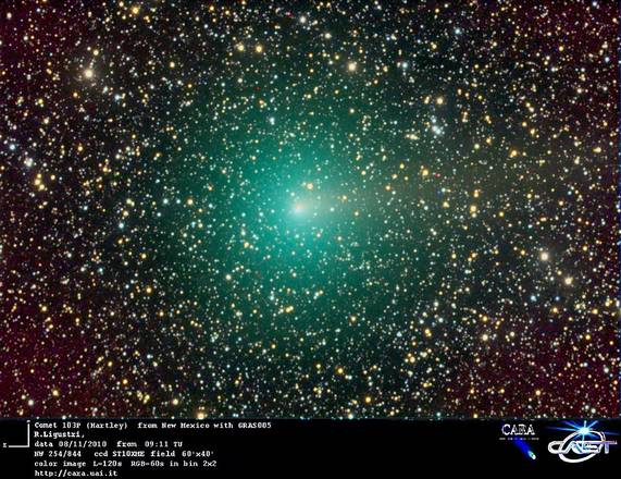 La cometa Hartley ripresa da un astrofilo in New Mexico (fonte: CARA Project, UAI)