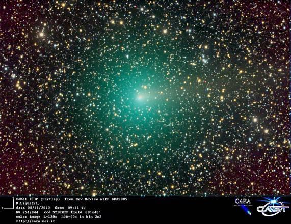 La cometa Hartley ripresa da un astrofilo in New Mexico (fonte: CARA Project, UAI)