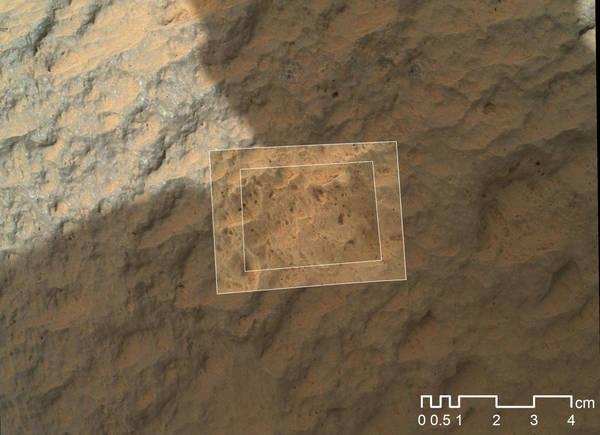 La roccia Jake Matijevic, la prima esaminata da Curiosity (fonte: NASA/JPL-Caltech/MSSS)