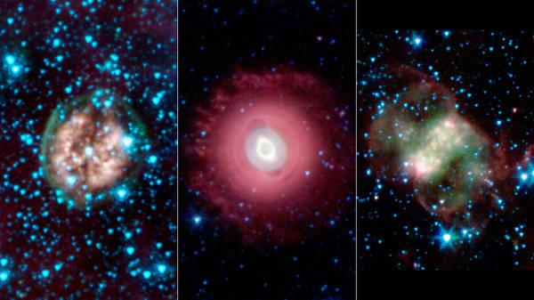 I 'fantasmi' di tre stelle immortalati dal telescopio Spitzer (fonte: NASA/JPL-Caltech/Harvard-Smithsonian CfA)
