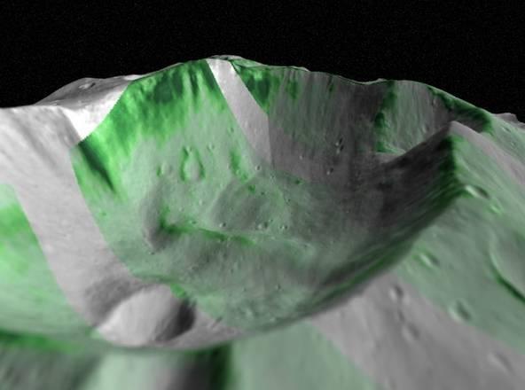 Sorprende i ricercatori la distribuzione dell'olivina sull'asteroide Vesta (fonte:  Alessandro Frigeri e Eleonora Ammannito, sulla base dei dati di Vir e delle immagini della Framing Camera)