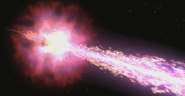 Rappresentazione artistica di un lampo di raggi gamma (fonte: NASA/Swift/Cruz deWilde)