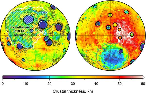 Le variazioni dello spessore della crosta derivate dalle informazioni della missione della Nasa  Gravity Recovery and Interior Laboratory (Grail) (fonte: Science/AAAS)