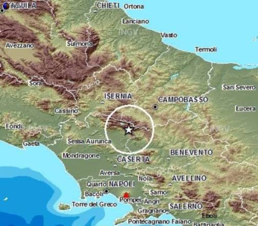 Localizzazione del terremoto di magnitudo 4.9 avvenuto il 29 dicembre nel Matese (fonte: INGV)