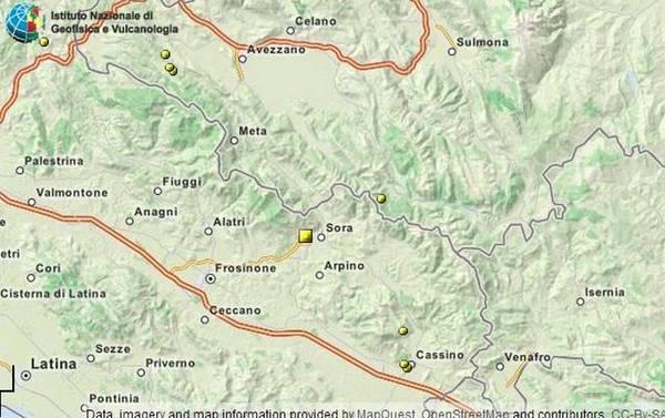 L'area colpita dal terremoto del 16 febbraio (fonte: INGV)